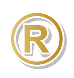 Registered trademark sign golden gradient vector