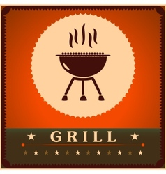 Retro Grill Menu Card Design template poster vector image