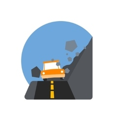 Rockslide Crushing The Car Natural Force Sticker vector