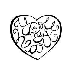 romantic hand drawn lettering inside heart shape vector image