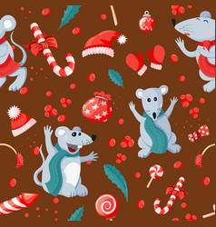 seamless christmas happy new year pattern with vector image
