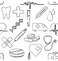 seamless doodle medical pattern vector image