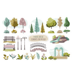 Set isolated park elements trees and flowers vector