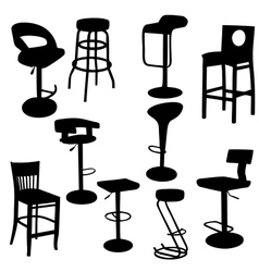Set of bar Armchairs Silhouettes vector image vector image