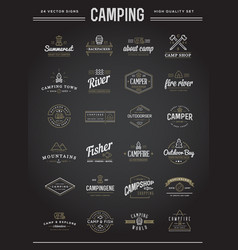 set of camping camp elements with fictitious vector image