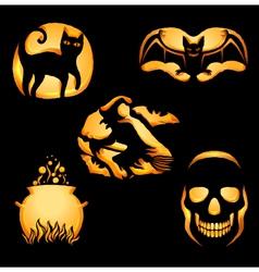 Set of Jack o Lanterns vector image