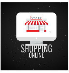shopping online computer screen store background v vector image