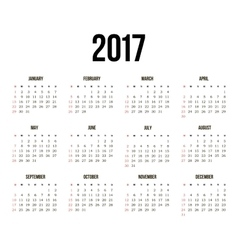 Simple 2017 year calendar vector image