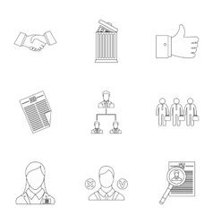 Staffing agency icons set outline style vector