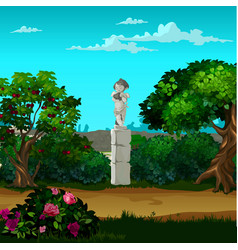 Stone monument in form an angel in the vector