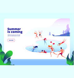 summer beach landing people at swimming pool on vector image