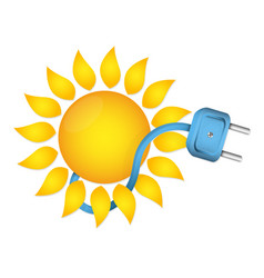 Sun and electric plug with cable vector