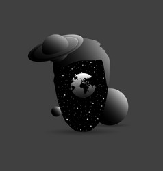 surrealism space in the head stars and planets vector image
