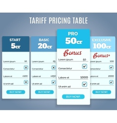 Tariff Pricing Table with Labels vector