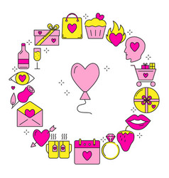 valentine day round concept with love icons in vector image