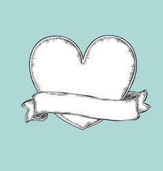 Vintage ribbon over heart tattoo template vector