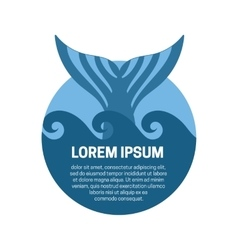 Whale tail label vector