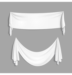 White banner with folds vector image vector image