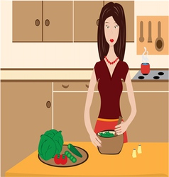woman cooking in kitchen vector image vector image