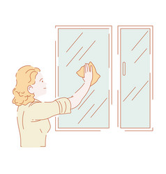 woman washing windows or wiping glass housework vector image