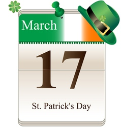 Calendar of st Patricks day with hat vector image vector image
