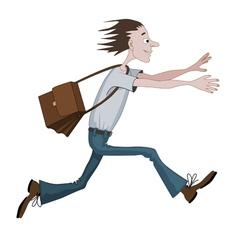 Carton man running fast with bag towards vector image vector image