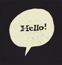 hello sign in speech bubble grunge styled vector image vector image