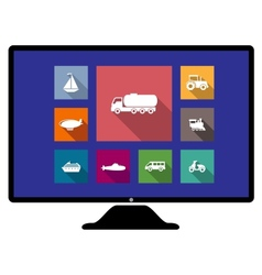 Set of flat transport icons on monitor vector image vector image