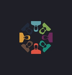 Teamwork computer symbol vector image vector image