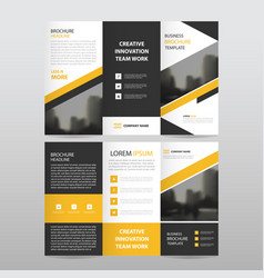 Yellow black triangle business trifold leaflet vector