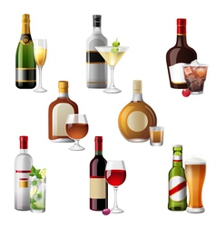 Alcohol bottles and cocktails vector