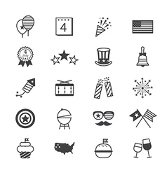 Independence Day Icons Line vector image