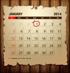 Wood Calendar 2014 Happy new year vector image vector image