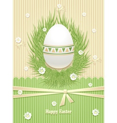 Easter Egg with grass flowers ribbon vector image vector image