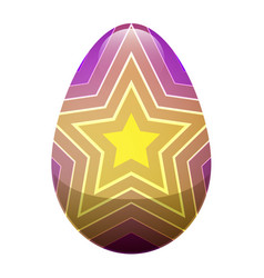 easter egg with ornamental lines and yellow stars vector image vector image