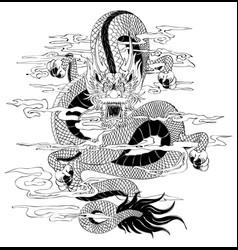 Tattoo dragon draw vector