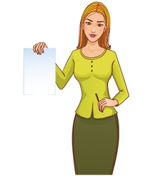 Young woman with paper and pencil vector image vector image