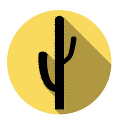 cactus simple sign flat black icon with vector image
