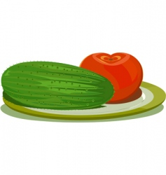 cucumber and tomato vector image vector image