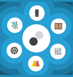 flat icon entertainment set of bones game chequer vector image vector image