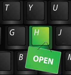 keyboard with green open sign vector image vector image