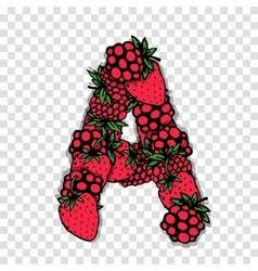 Letter A made from red berries sketch for your vector image