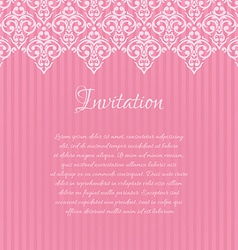 pink damask invitation blank with a place for your vector image vector image