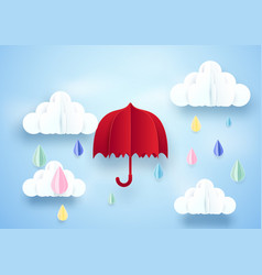 Red umbrella and rainy on clouds background paper vector