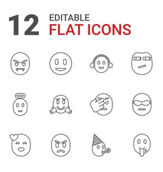 12 emotion icons vector