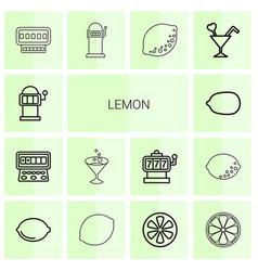 14 lemon icons vector image
