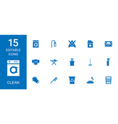 15 clean icons vector