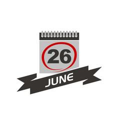 26 june calendar with ribbon vector