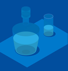3d isometric bottle and glass in blue colors vector