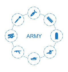 8 army icons vector